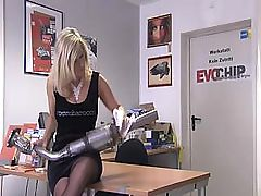 Two horny lesbian bitches service each other's pussies at repair shop