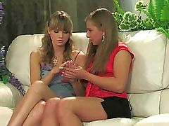Two hot Russian girls are playing with their pussies and munching
