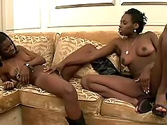 Chocolate chicks have fun in orgy