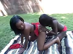 Black lesbians lick in crazy orgy