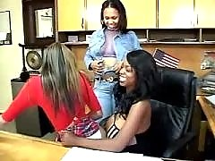 Ebony lesbian licks hot girlfriend