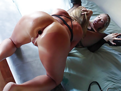 Two pretty lesbians have an erotic pussy play session